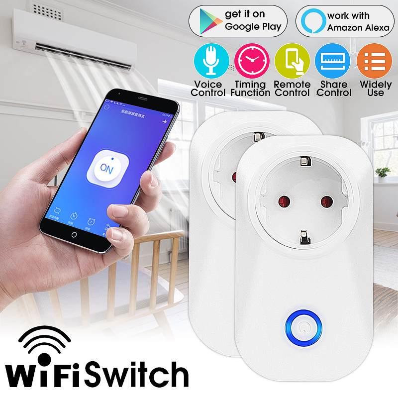 Enchufe inteligente 10A con WiFi, enchufe de la UE, enchufe inalámbrico, Control remoto, temporizador, funciona con Amazon, Alexa/Google para aplicación Android e IOS