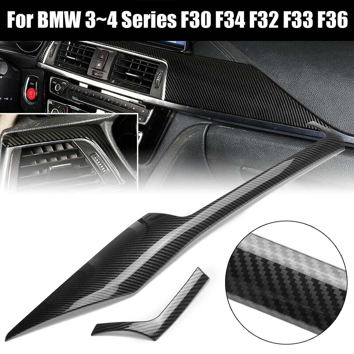 2 шт. углеродное волокно стиль Центральная панель управления отделка для BMW F30 F34 F32 F33 F36