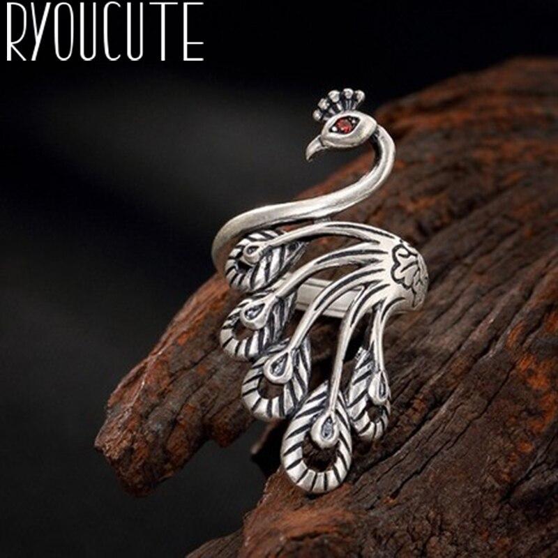 Luxo cor prata pavão anéis para presentes femininos jóias de casamento grande antigo dedo anéis anelli