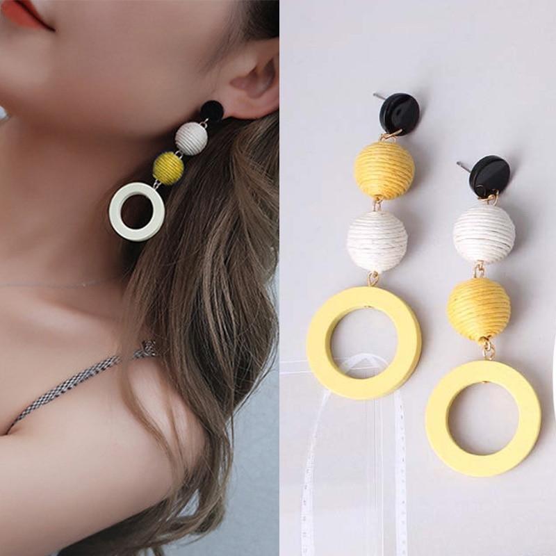 Vintage Drop Dangle Earrings Wooden Circle Pendant Yellow Statement Earrings Hit Color Linen Bohemian Jewelry Ear Accessories