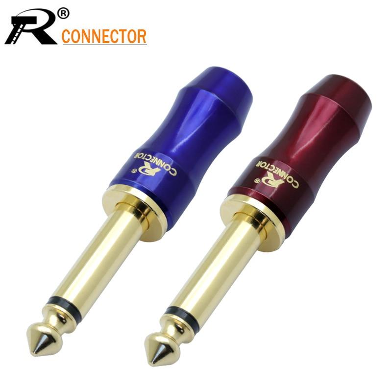 10 Uds recién llegado Jack de cobre 6,35mm chapado en oro enchufe conector de Audio 6,35mm MONO Plug conjunto de micrófono conector azul y rojo