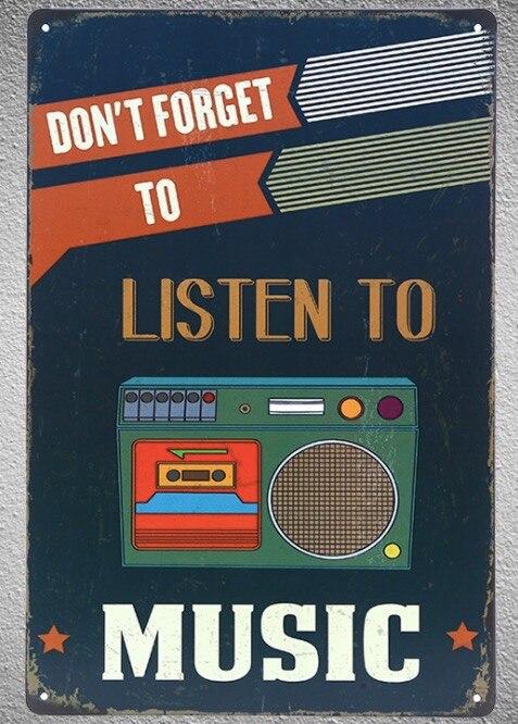 1 pc a escuchar música, no olvides bar tienda cinta CD Placa de estaño signo placas de pared Decoración Para cuarto de hombre Dropshipping. Exclusivo. Cartel de metal