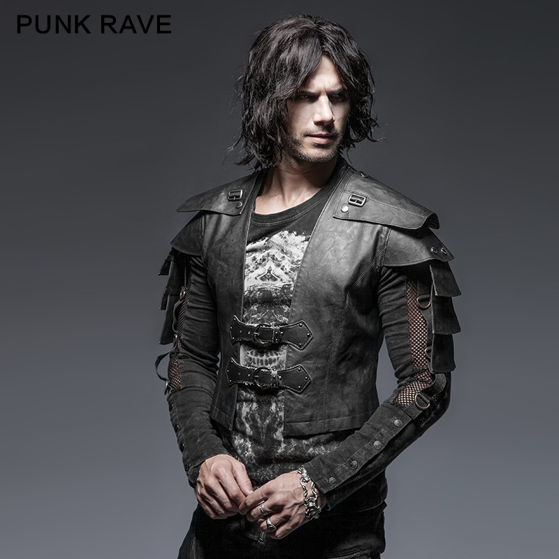PUNK RAVE Steampunk Black Military Uniform Warrior Leather Man Jackets Cufflinks Slim Rock Vintage Long Sleeve Handsome PU Coats