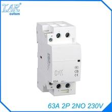 Contacteur AC modulaire 220v 230v v 50/60Hz 63A 2 pôles   Livraison gratuite de haute qualité, mini DIN Rail, pour ménage