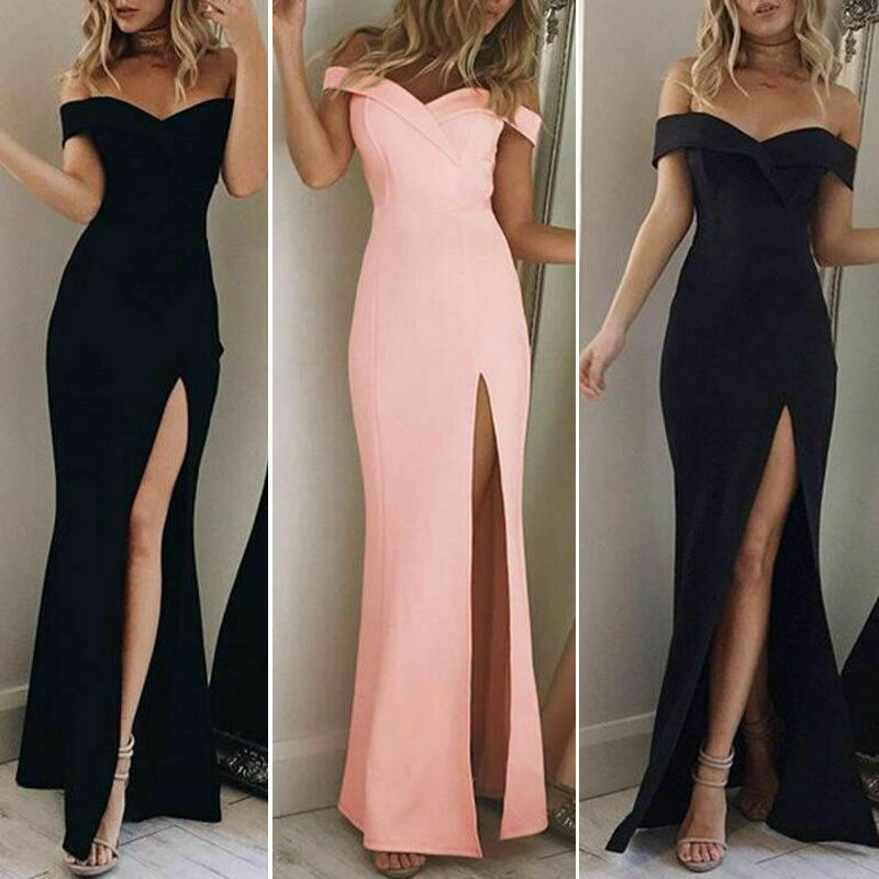 2019 New Sexy Evening Party Long Dress Women Off Shoulder Elegant Summer Holiday Beach Sexuality Dress Vestidos