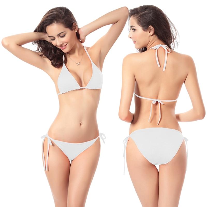Bikini Sexy Swimsuit Swimwear Underwear and Swimwear 11 Erotic Fun 2016 Women White Halter Plus Size Swimwear Bikini Thong