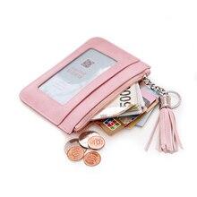 Solide fermeture éclair porte-monnaie dames en cuir Pu gland et anneau en métal pochette portefeuilles femmes porte-clés mince porte-clés porte-cartes Mini pochette