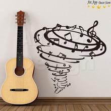 Notes musicales en vinyle tornado   Autocollant mural, décoration de la maison, amovible, autocollants de salle de musique, design artistique de bonne qualité
