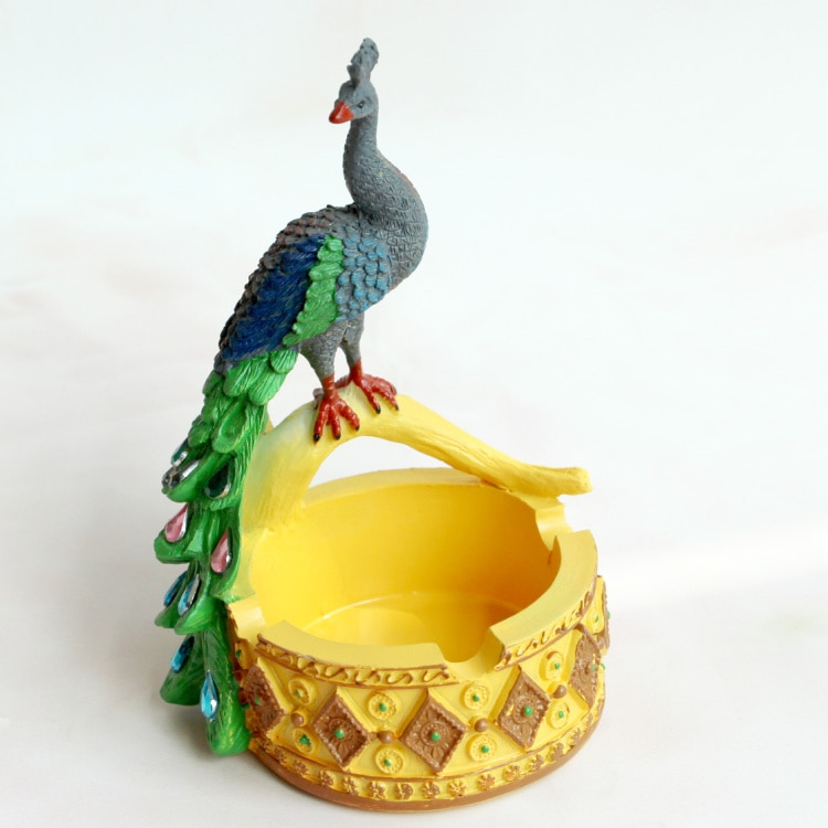 Cenicero creativo de pavo real, Decoración de mesa de té de estilo sudeste asiático, adornos, miniartesanía de resina, muebles de animales
