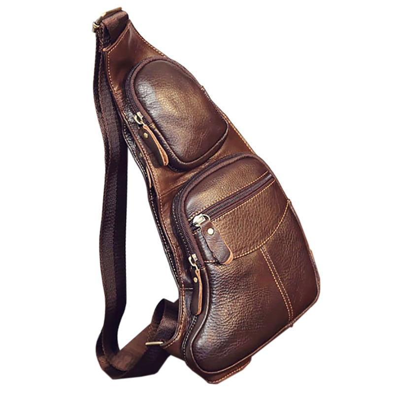 aliexpress.com - High Quality Men Genuine Leather Cowhide Vintage Sling Chest Back Day Pack Travel Fashion Cross Body Messenger Shoulder Bag