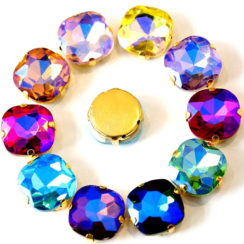 Круглые квадратные цветные стеклянные стразы, 14 мм, 20 шт, пришивные стразы с золотыми когтями, с плоской задней поверхностью, красные стразы для платья, B1038