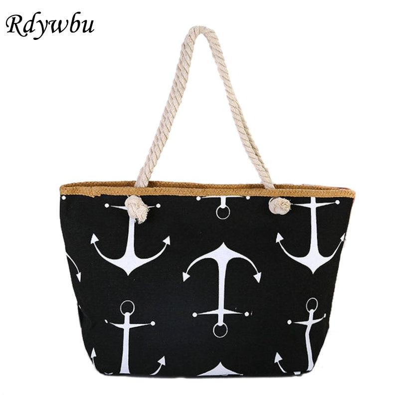 Rdywbu Women Large Capacity Summer Bag Hemp Rope Straw Weave Printed Anchor Canvas Bag Shopping Big Tote Beach Bag 6 Colors H191