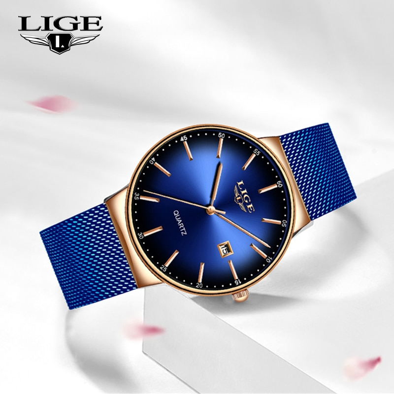 LIGE Fashion Women Watches Ladies Top Brand Luxury Sport Quartz Dress Watch Ladies Full Steel Waterproof Watch Relogio Feminino