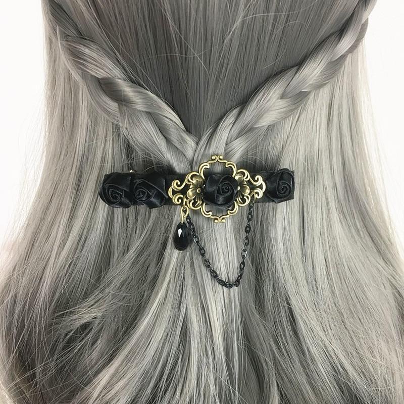 Pinzas de pelo para mujer estilo gótico negro Rosa hecho a mano retro clásico para mujer