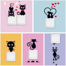 XXYYZZ autocollant Mural pour téléphone   Joli interrupteur de lumière de chat, chambres denfants, décoration pour la maison bricolage, Stickers muraux animaux en Pvc, Art Mural