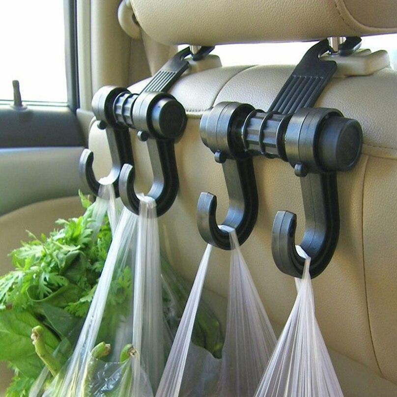 Nuevo colgador de reposacabezas de asiento trasero doble para coche ganchos para bolsa de tela para bolso comestibles accesorios interiores de automóvil