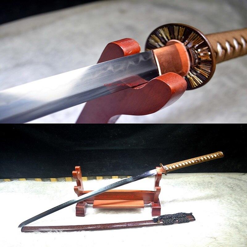Klei Gehard T-10 Staal Japanse Samurai Hoge Kwaliteit Messing Tsuba Katana Echte Yokote Zwaard