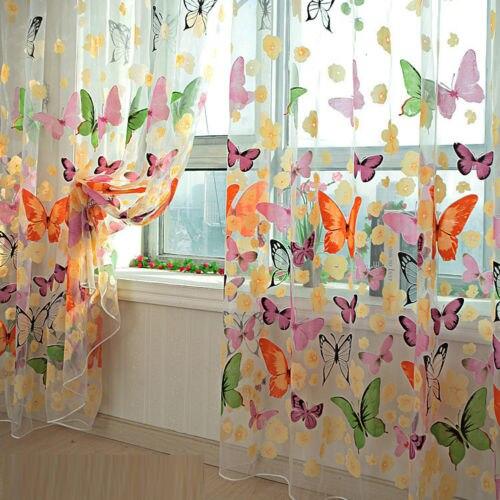 1 Uds estampado de mariposa ventana transparente cortinas de paneles divisor de sala de nuevo