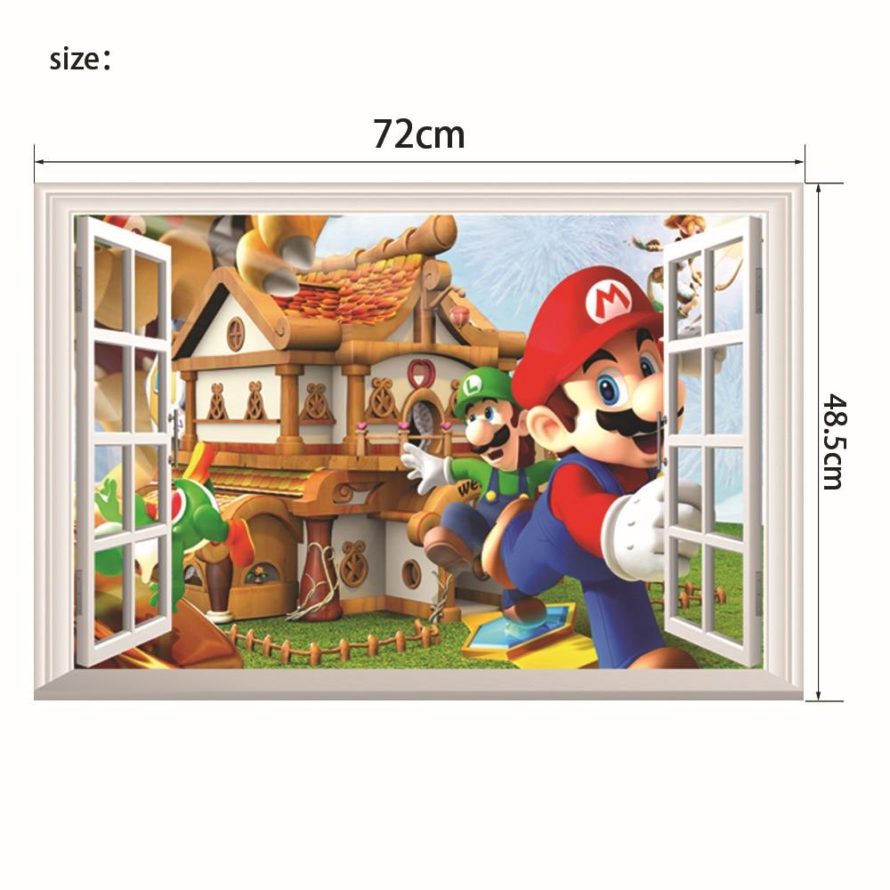 Mario Luigi & Yoshi 3D vista de la ventana feliz Pared de Castillo PEGATINAS ARTE Mural papel tapiz decoración extraíble envío gratis