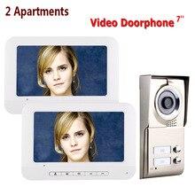 Système dinterphone vidéo 7 pouces   LCD 2 appartements, porte-téléphone, HD 1000TVL, caméra avec 2 boutons 2, moniteur Waterpr