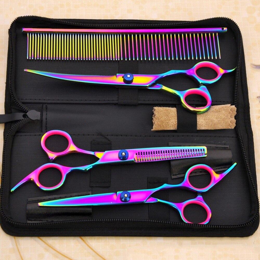 Set de tijeras de peluquería para mascotas de 7 pulgadas, tijeras profesionales de peluquería para perros y gatos, tijeras de peluquería para cortar el cabello, color deslumbrante