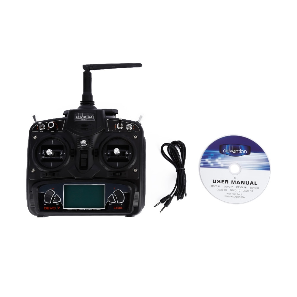 Walkera DEVO 7 Remote Controller Radio 2.4 GHz 7 Channel DSSS Model RC Transmitter RX701 Receiver for FPV RC Racing Quadcopter enlarge