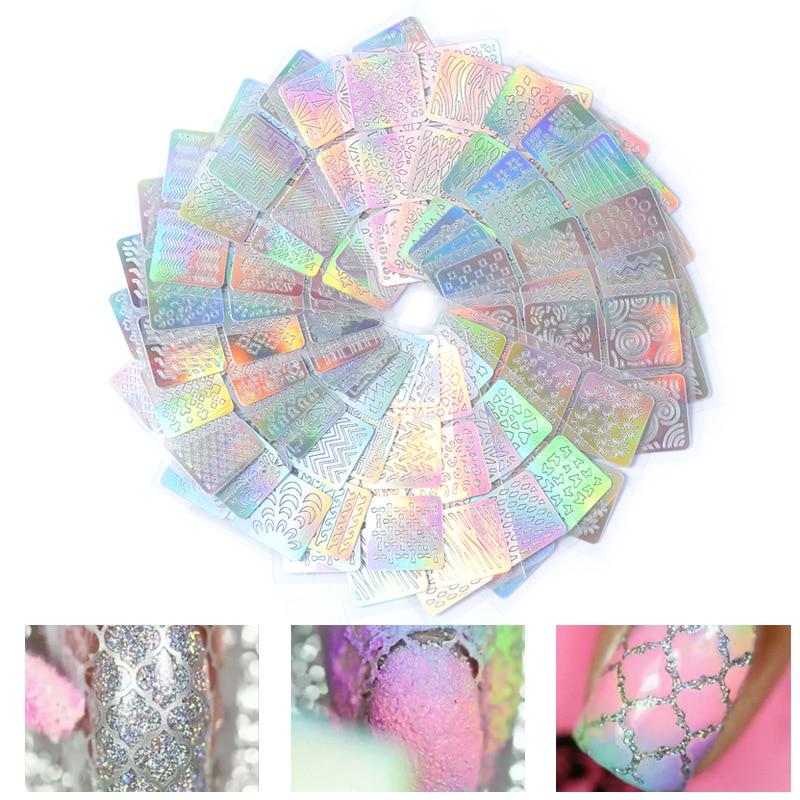 24 Sheets/set DIY Nail Art Hollow 3D Laser Sticker Stencil Gel Polish Nail Vinyl Tip Transfer Guide Template Nail Decals