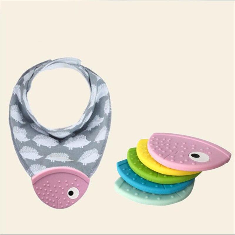 Bebé mordedor babero creativo pez boca mordedor bebé triángulo babero Molar productos de bebé juguetes
