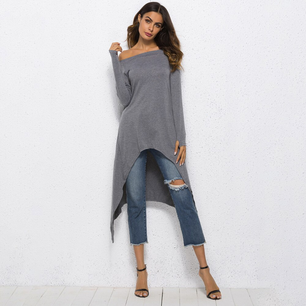 Wown Shir manga larga de hombro sólido Irregular nueva camiseta informal para mujeres de talla grande Tops camisa
