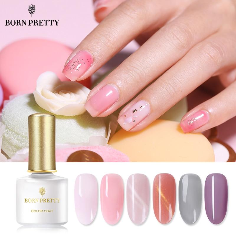 Nacido bastante jalea serie Gel polaco 6ml Gel de esmalte de uñas Rosa gris colores Semi-transparente remojo LED UV para uñas de Gel barniz