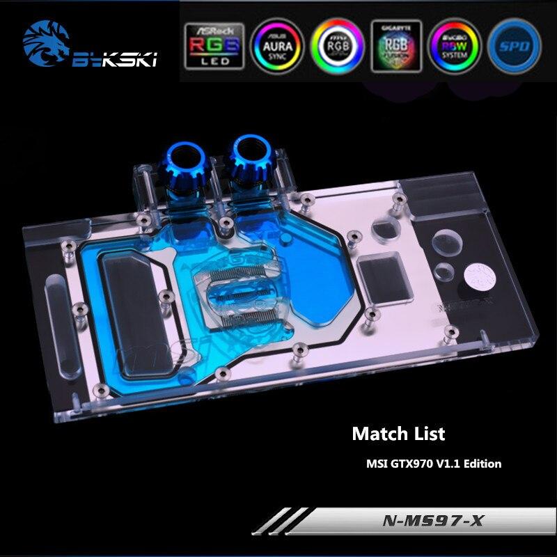 Bykski N-MS97-X Full Coverage GPU Water Block For MSI GTX970 V1.1 Edition Graphics Card Heatsink