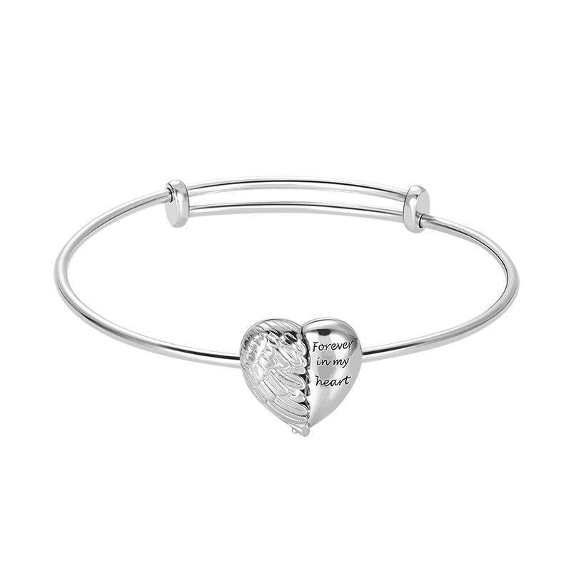 Wholesale Angel Wings Heart Photo Locket Bracelet Adjustable Sterling Silver Customized Bracelets Engrave Name Date Bracelet