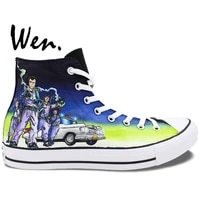 wen hand painted shoes design custom ghostbusters high top men womens canvas sneakers for christmas gifts