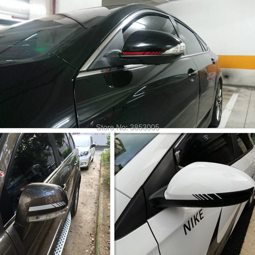 Etiqueta del espejo retrovisor del coche rayas para el asiento del mini cooper cubre el mini refrigerador volkswagen honda dio dodge challenger bmw e90