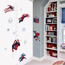 Autocollant mural Spiderman homme araignée   Autocollant de règle de hauteur, en PVC, créatif et imprimé, autocollant mural pour chambre à coucher, décoration artistique pour la maison
