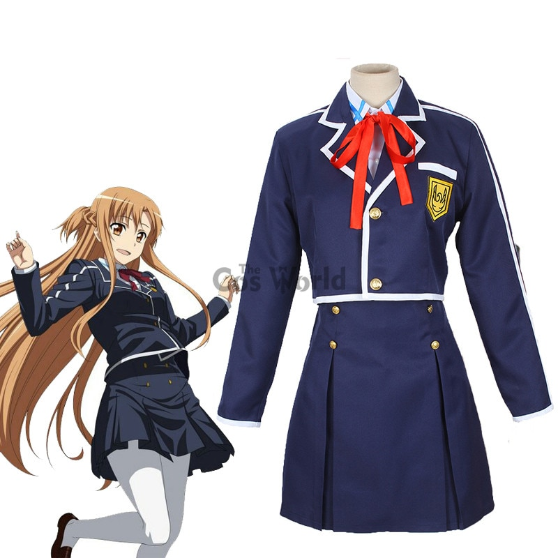 Sword Art Online SAO Yuuki Asuna uniforme escolar abrigo camisa falda Anime vestuario Cosplay traje de vestir