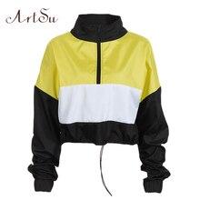 ArtSu Patchwork Gelb Cropped Sweatshirt Frauen Langarm Hoody Stehkragen Zipper Frauen Hoodies Pullover Schwarz ASHO20291