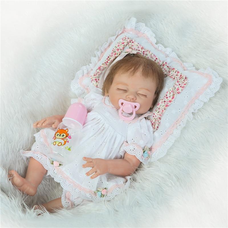 Кукла Reborn bonecas, 20 дюймов, живой Reborn, ручная работа, Реалистичная, Reborn, для девочек, полностью силиконовая, с соской, подарок ребенку