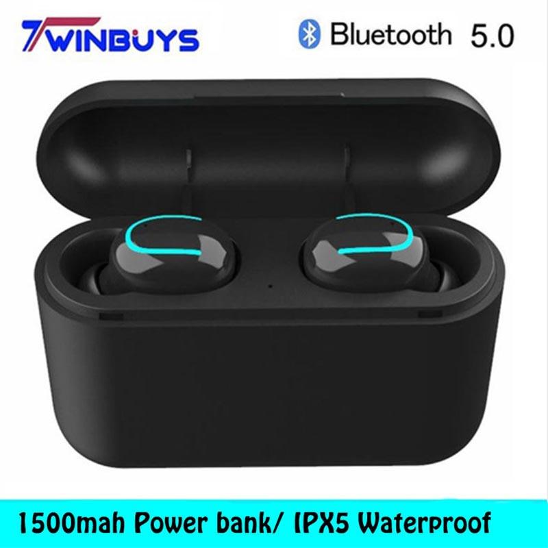 New Bluetooth 5.0 earphones TWS Wireless headphone IPX5 waterproof Earbud Sports Stereo headset Deep bass for iphone samsung HBQ