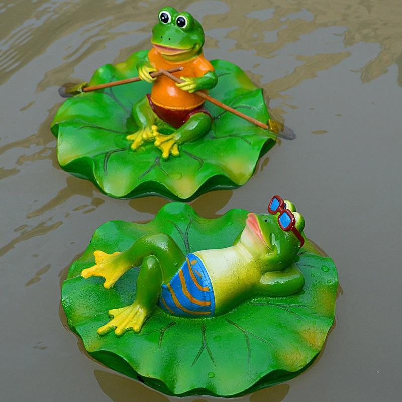 Creative Resin Floating Frogs Statue Outdoor Garden Pond Decorative Cute Frog Sculpture For Home Desk Garden Decor Ornament