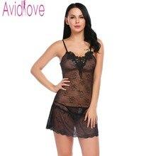 Avidlove Sexy Lingerie robe femmes Mini nuisette Transparent chemise de nuit coton déshabillé Porno sexe Costumes dame sous-vêtements