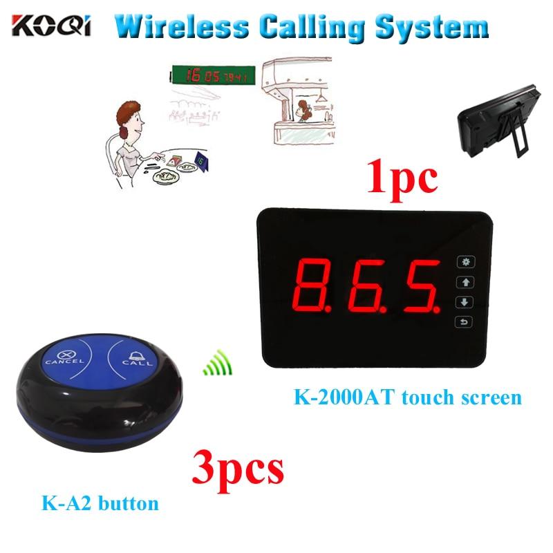 Sistema de llamada de zumbador de mesa portátil K-2000AT pantalla táctil W 3 piezas K-A3 transmisor de 2 teclas