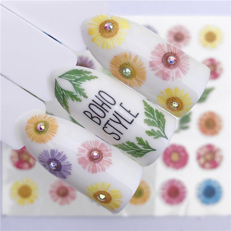 WUF 1 hoja arte de uñas agua pegatina Margarita Rosa Sakura flamenco y loro flor seca transferencia tatuaje adhesivo Decoración