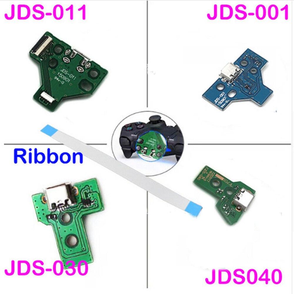 10PCS a lot  JDS-001 JDS-011 JDS-030 JDS-040 USB Charging Port Board  + 12/14 pin Ribbon Cable For PS4 Controller DualShock 4