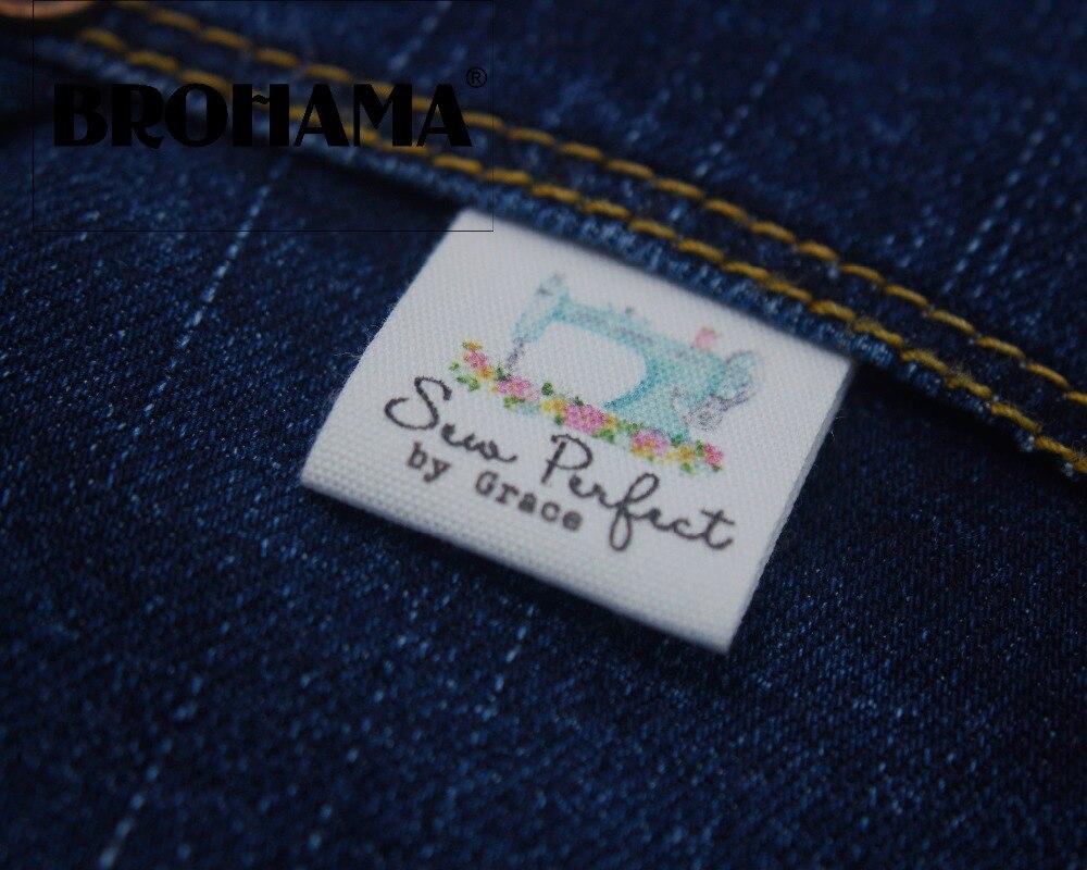 Etiquetas de costura/etiquetas de marca personalizada, Etiquetas de ropa, máquina de coser, tela 100% algodón, texto personalizado, hecho a mano (MD0505)