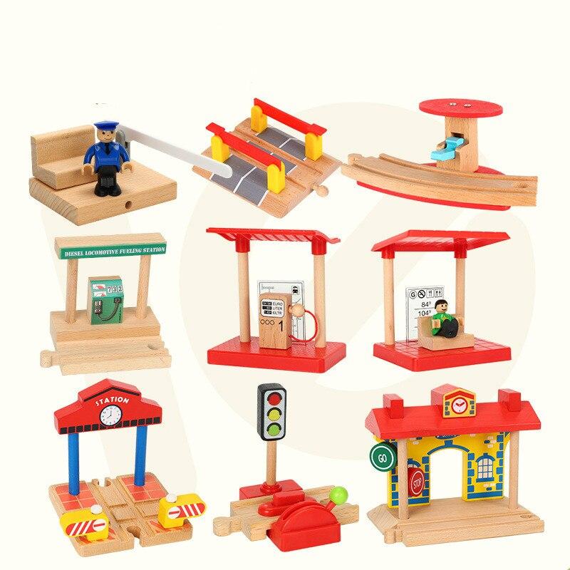 EDWONE- NEW Wood Railway Gas Station Clock Police Train Car Slot Railway Accessories Toy Kids Gifts Fit  BIRO Tracks