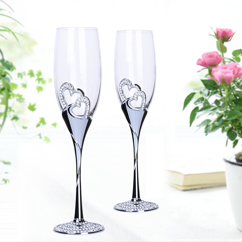Lead-free Crystal glass cup Wedding Toasting champagne flutes glass Cup Party marriage Wine decoration cups for parties Gift box