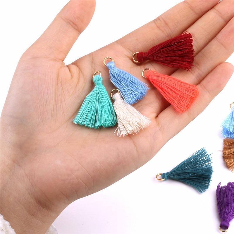 50-200Pcs Color Mini Tassel Fringe Pendant DIY Party Hanging Ring Cords Tassel Trim Garments Curtains Jewelry Decor Tassels Lace