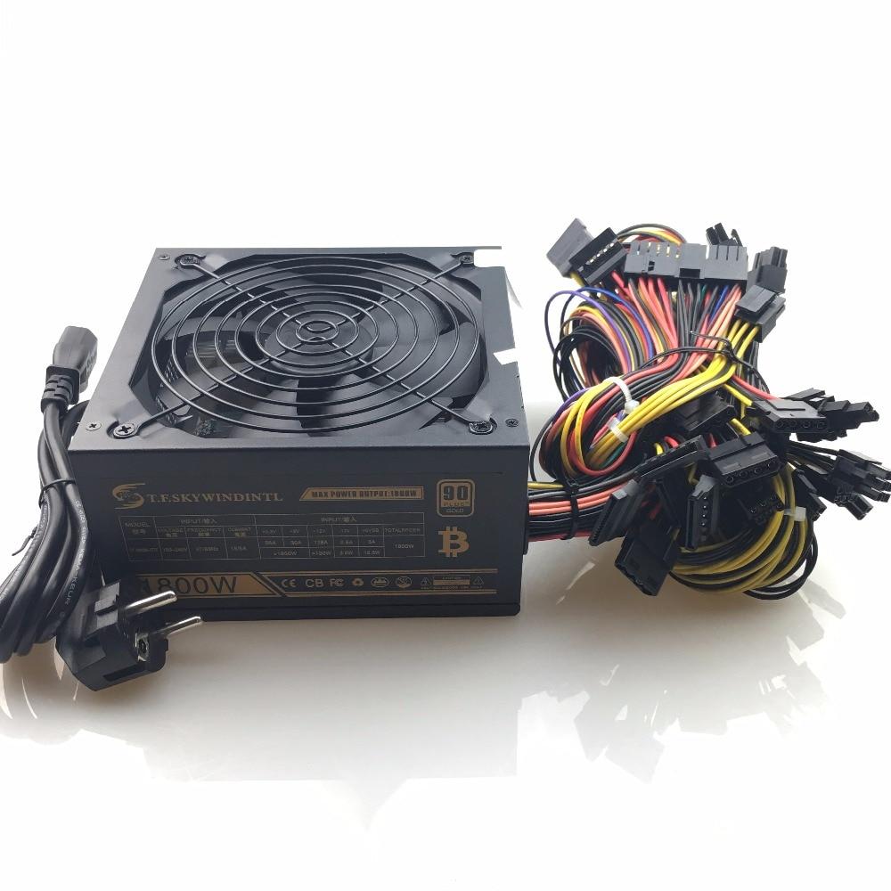 1800 Вт ATX 24pin PSU 1800 Вт эфириум ETH источник питания для R9 380 RX 470 RX480 6 GPU карт PC выключатель питания эфириум монета Биткоин