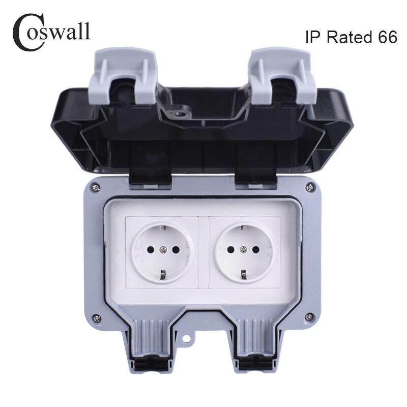 Coswall IP66 Водонепроницаемая наружная настенная розетка с защитой от атмосферных воздействий 16А двойная электрическая розетка европейского стандарта с заземлением переменного тока 110 ~ 250 В